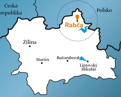 Fotka mapy s vyznačenou farnosťou Rabča na Orave